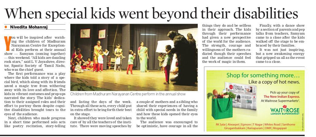 Print media articles on MNC India - Early intervention services to
